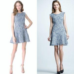 Rebecca Taylor Frayed & Flare Blue Tweed Dress